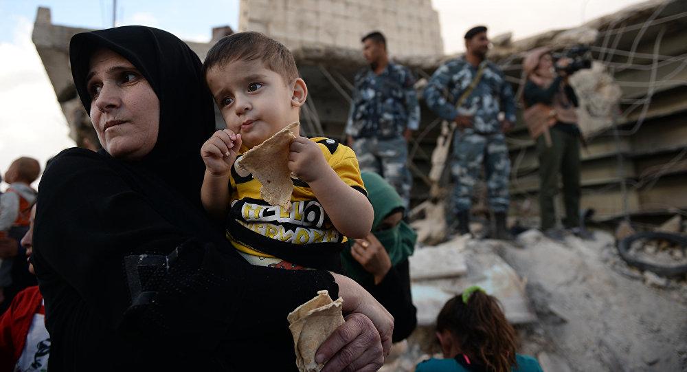 Verteilung russischer Hilfsgüter in Syrien