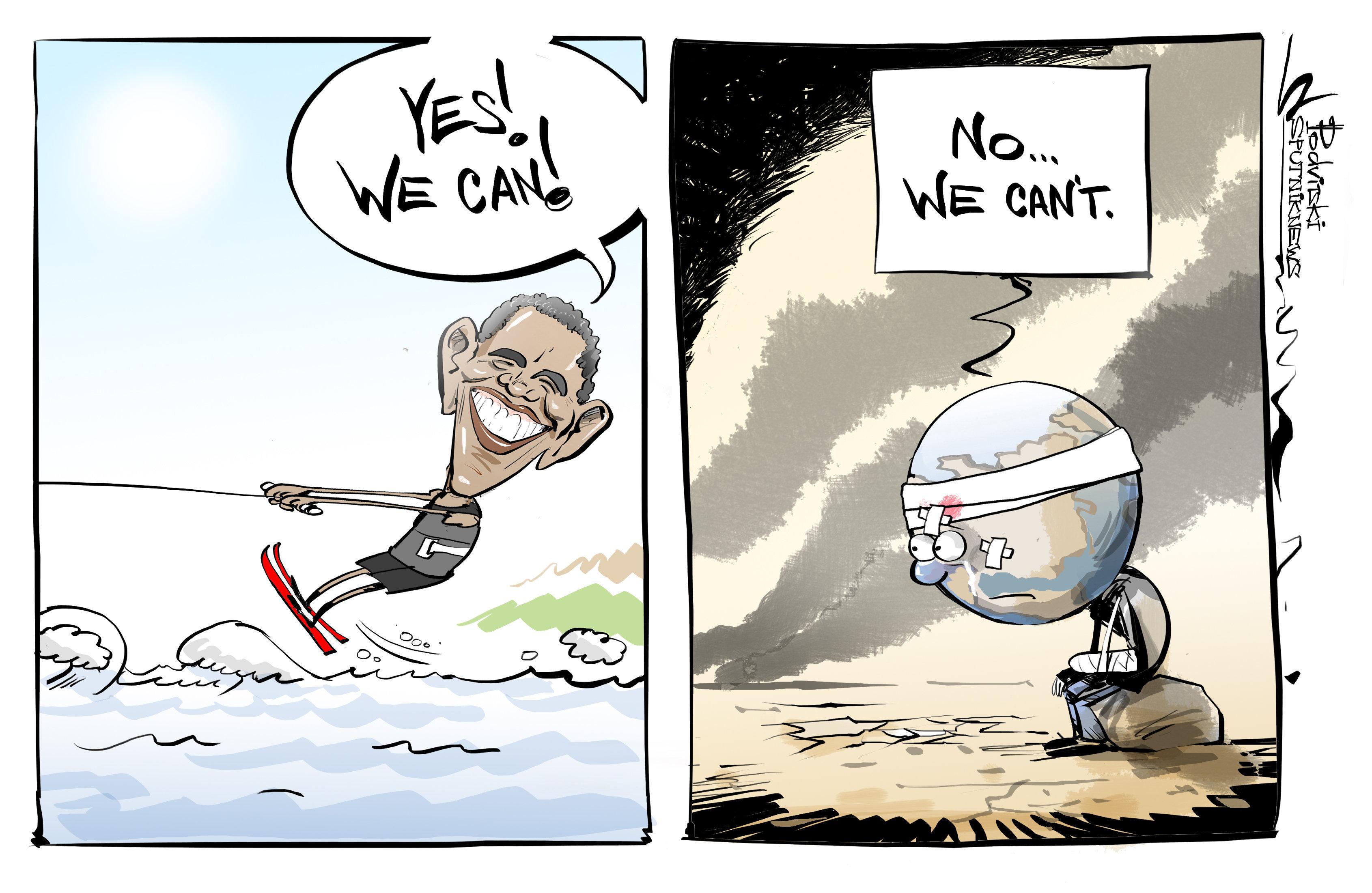 Qu'est ce qui va le mieux à Obama, une cravate ou un kite surf?