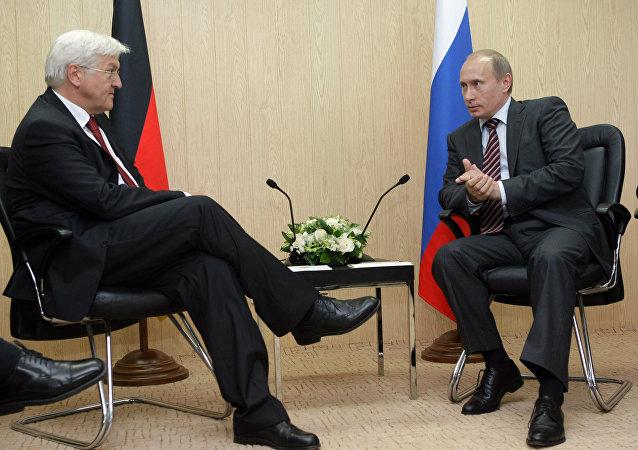 Prime Minister Vladimir Putin talks with Frank-Walter Steinmeier (File)