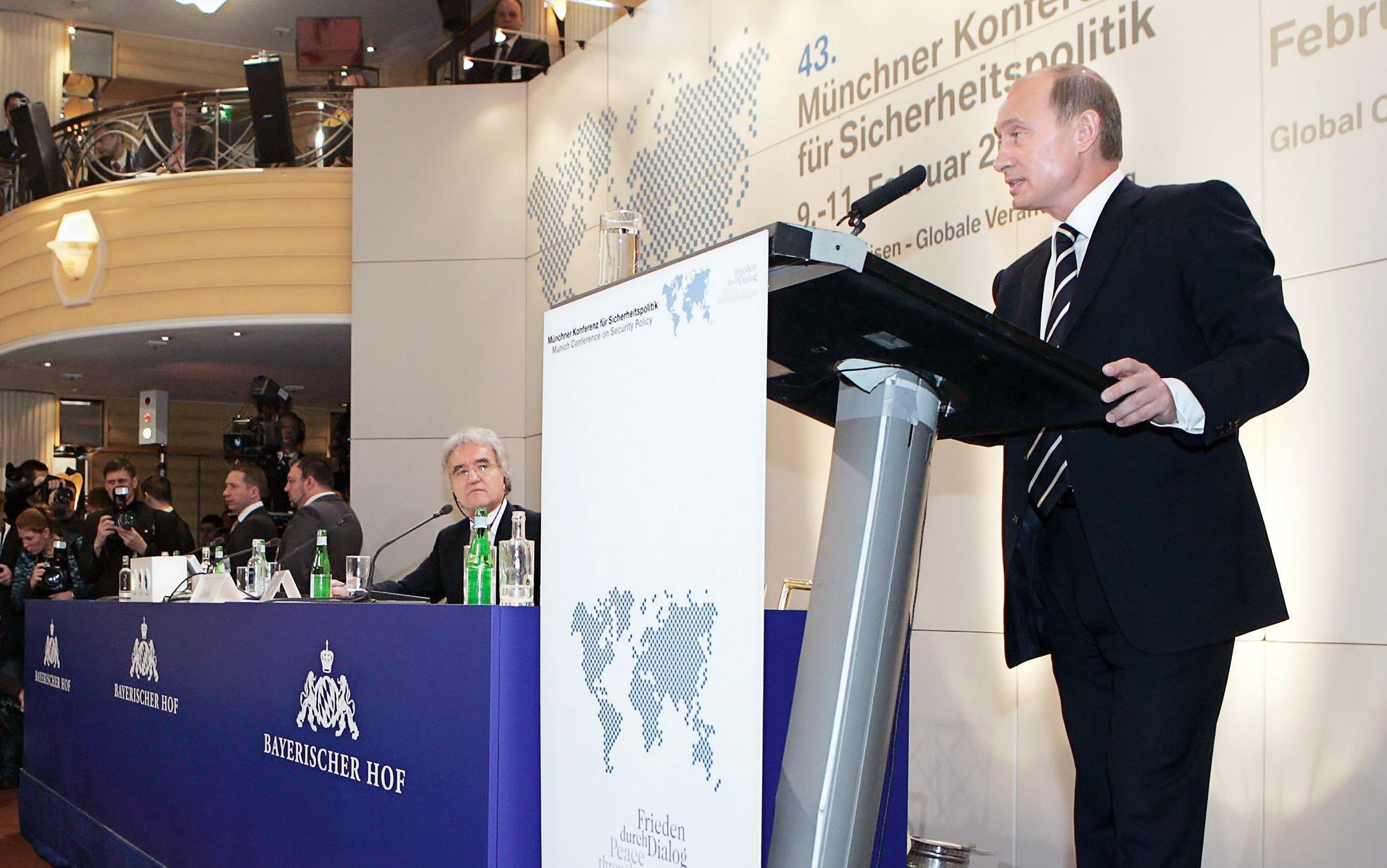 Le président russe Vladimir Poutine à la conférence de Munich