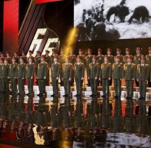 Singers and orchestra members of Red Army Choir, also known as the Alexandrov Ensemble, perform in Moscow, Russia March 31, 2016