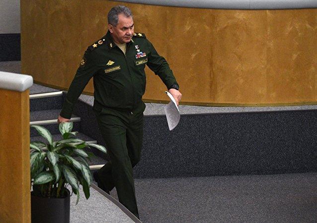 Le ministre russe de la Défense Sergueï Choïgou à la Douma (chambre basse du parlement russe)