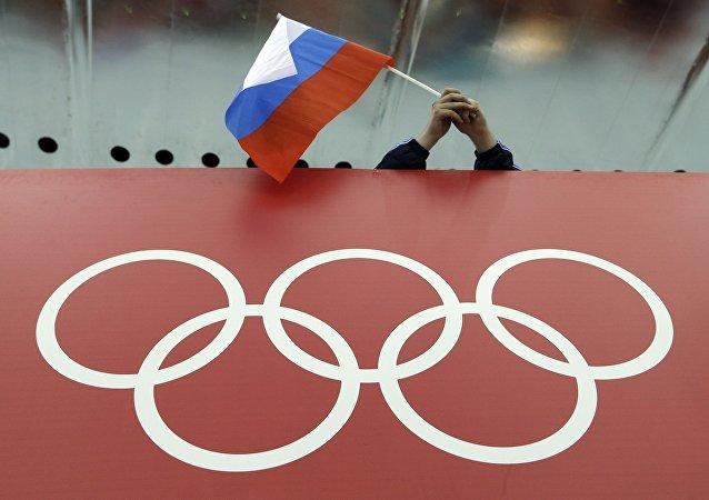 Un supporteur russe agite le drapeau national