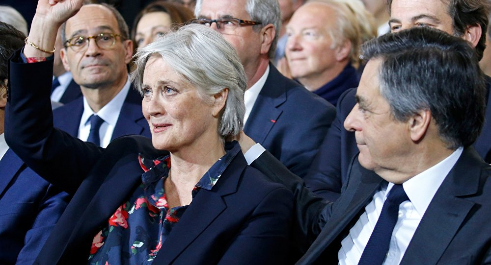 Francois Fillon, member of Les Republicains political party and 2017 presidential candidate of the French centre-right, and his wife Penelope attend a political rally in Paris, France, January 29, 2017.