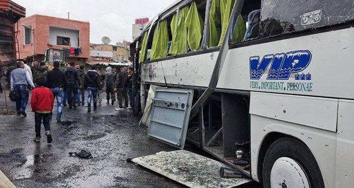 Le lieu de la double attaque-suicide à Damas