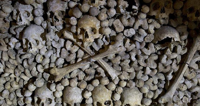 Crânes et os sont empilés aux Catacombes à Paris, France
