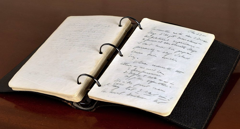 This undated photo released Thursday, March 23, 2017, by RR Auction shows a portion of a diary written in 1945 by young John F. Kennedy during his brief stint as a journalist after World War II.
