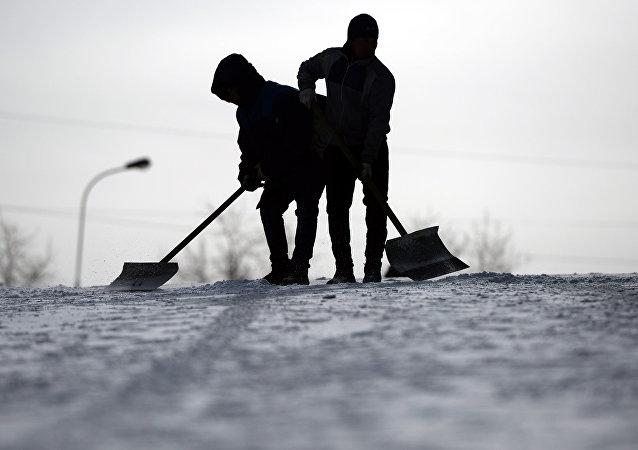 la neige en Moscou