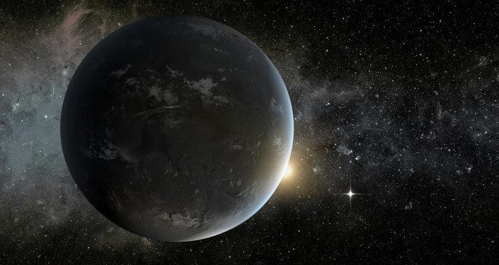 Le concept d'artiste de l'une des deux planètes terrestres potentiellement habitables, Kepler-62f