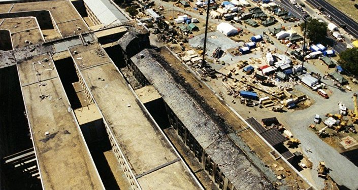 An aerial view of the Pentagon's damaged section after the 9/11 terrorist attack.