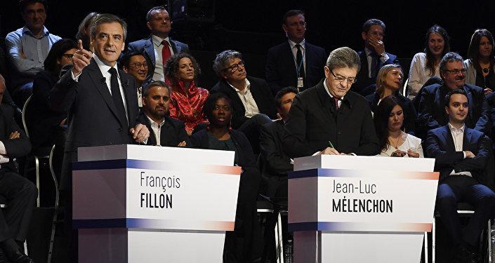 Francois Fillon, Jean-Luc Melenchon and Jean Lassalle