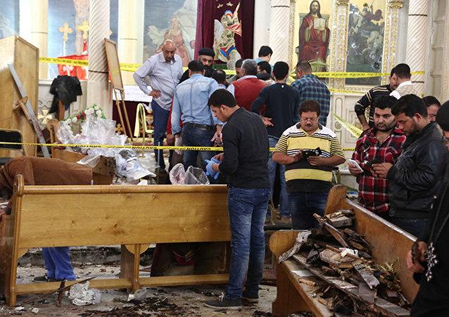 L'église Mar Girgis après l'attentat