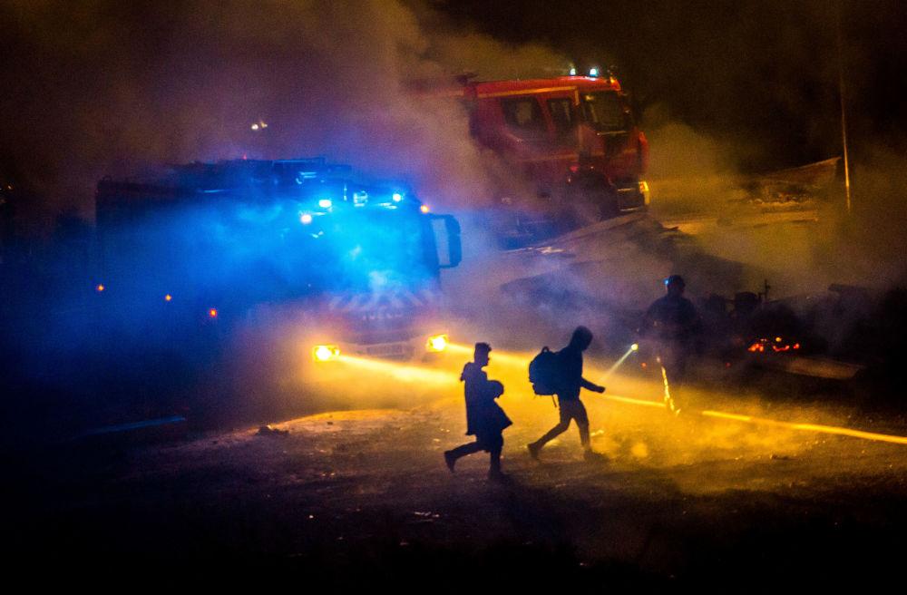 Incendie dans un camp de migrants en France