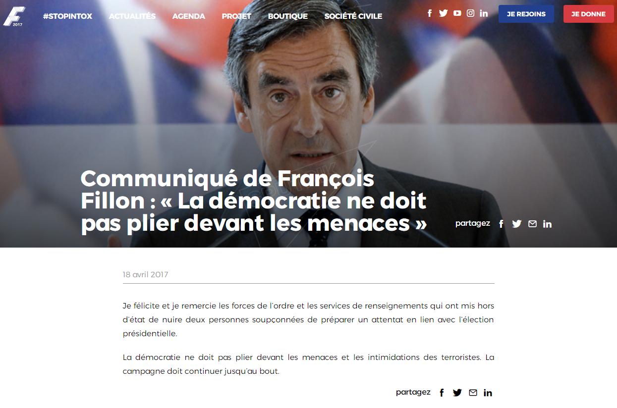 Communiqué de François Fillon