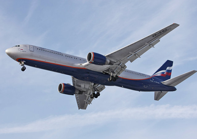 Aeroflot Russian Airlines Boeing-767 at Sheremetyevo airport.