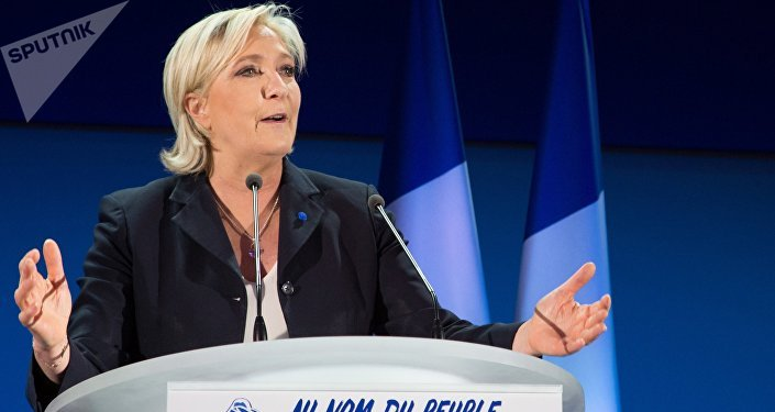 Marine Le Pen, French presidential candidate and leader of the political party the National Front, during a news conference following the first round of the presidential election.