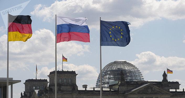 Флаги Германии, России и ЕС