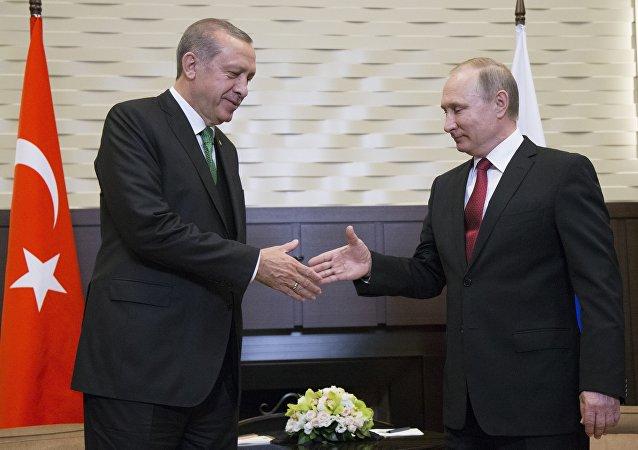 La rencontre à Sotchi entre les Présidents russe et turc Vladimir Poutine et Recep Tayyip Erdogan