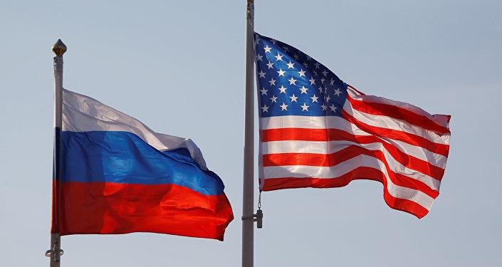 drapeaux de la Russie et d` Etats-Unis