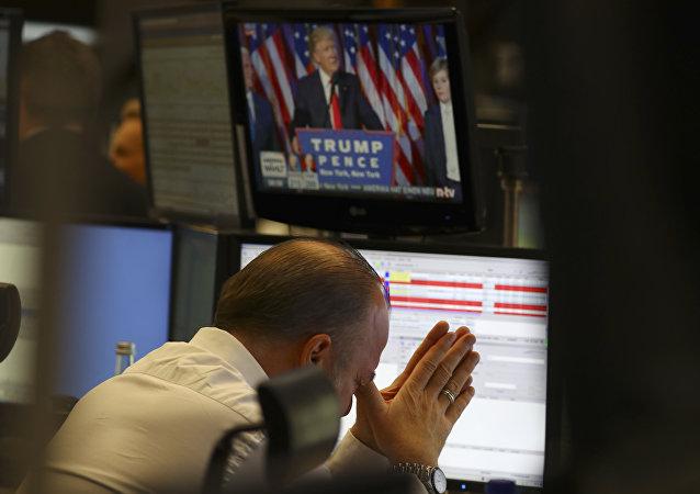 Un trader à la bourse de Francfort en Allemagne