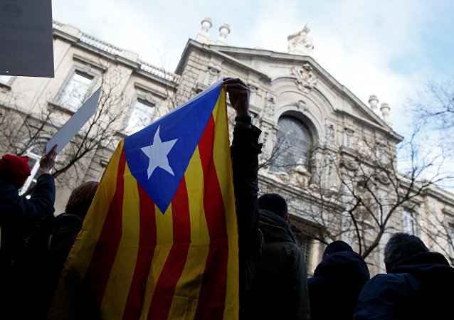 A supporter of former Catalan Government Presidency Councillor Francesc Homs holds the Catalan Estelada flag