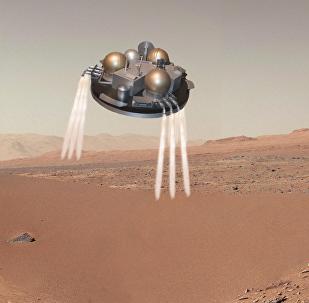 Atterrissage sur Mars dans sa phase finale (vue d'artiste).