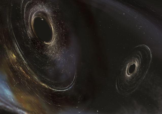 Ondes gravitationnelles (vue d'artiste)