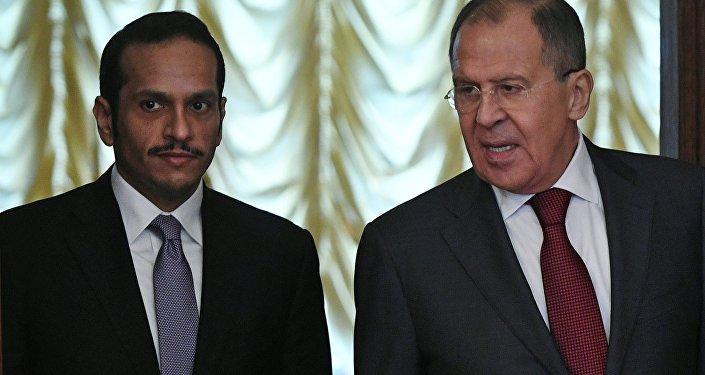 Sergueï Lavrov et Mohammed bin Abdul Rahman al Thani