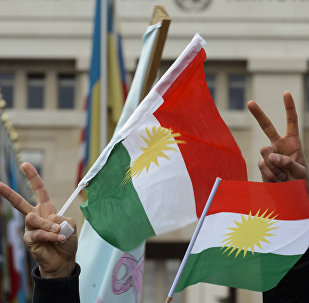 Des Kurdes de Syrie  brandissent les drapeaux du Kurdistan