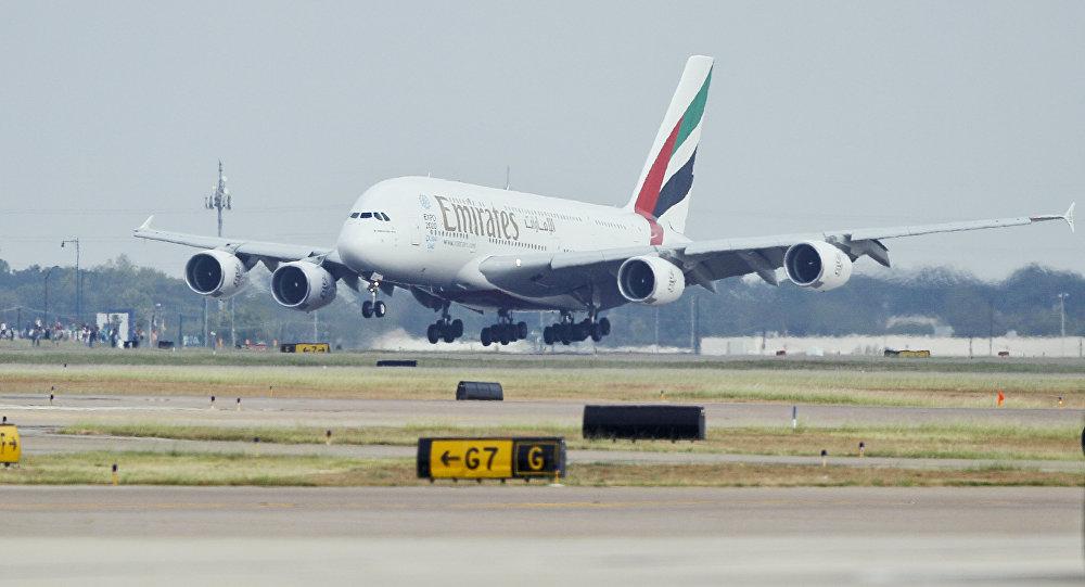 Un A380 à l'atterrissage