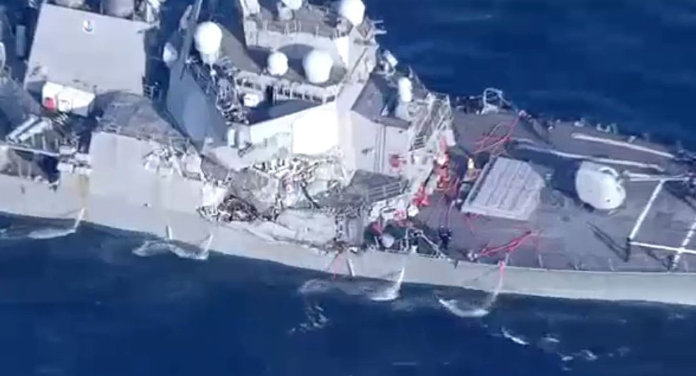 Sept marins portés disparus suite à la collision d'un destroyer US