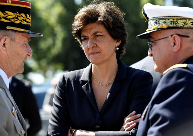 French Minister of the Armed Forces Sylvie Goulard (C) attends the ceremony to mark the 77th anniversary of late French General Charles de Gaulle's resistance call of June 18, 1940, at the Mont Valerien memorial in Suresnes, near Paris, France, June 18, 2017