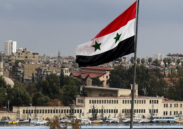 Le drapeau syrien à Damas, Syrie