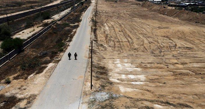Membres des forces de sécurité palestiniennes. Bande de Gaza