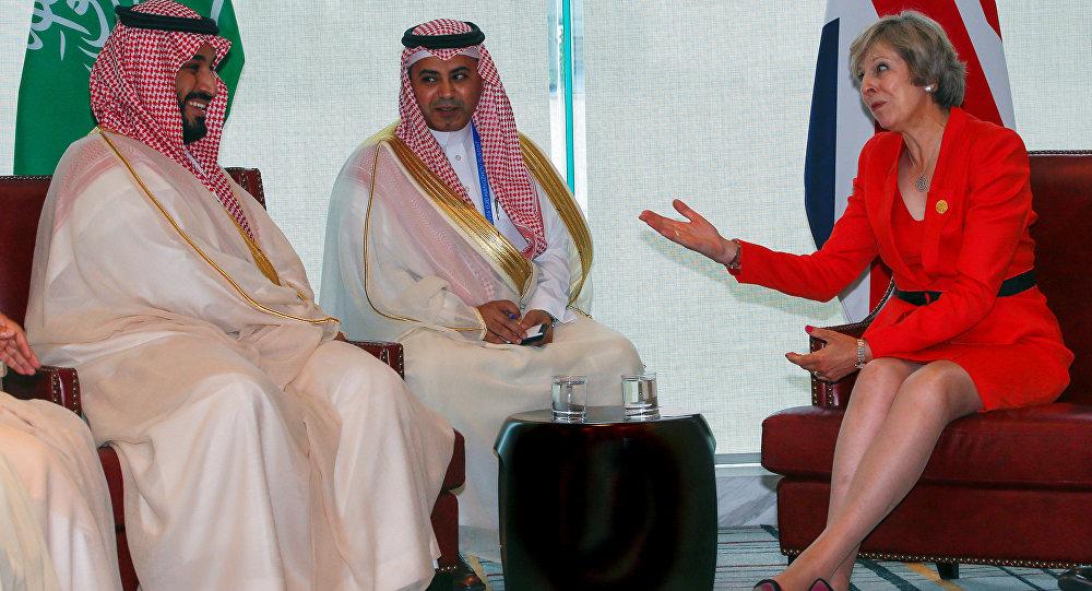 La Première-ministre britannique Theresa May et le prince Mohammed ben Salmane Al Saoud