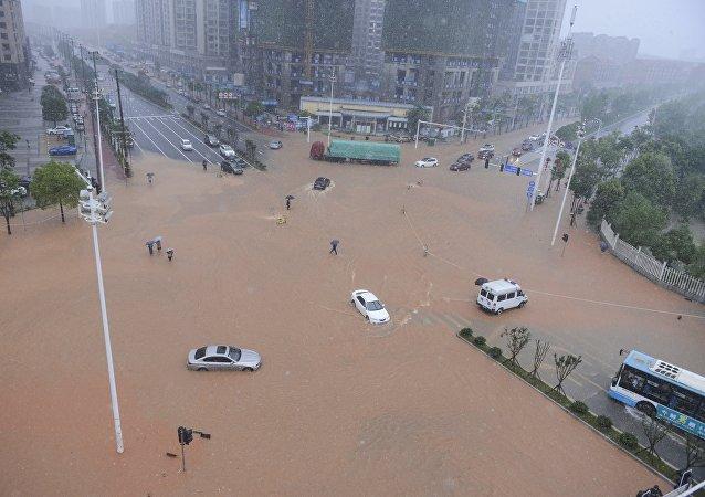 Inondation dans la province du Hunan, dans le sud-est de la Chine