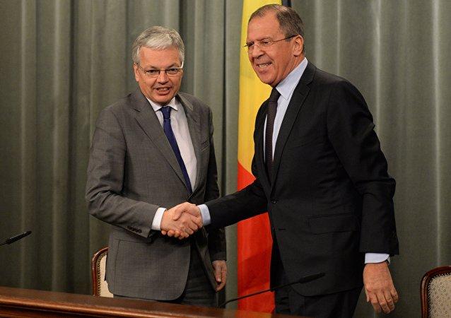 Didier Reynders et Serguei Lavrov à Moscou. Archives