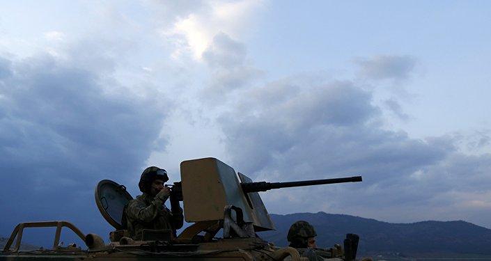 Soldats turcs dans la ville frontalière turque de Kilis