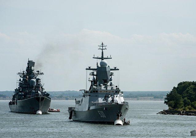 Des navires russes dans le port de Baltiisk, dans la région de Kaliningrad
