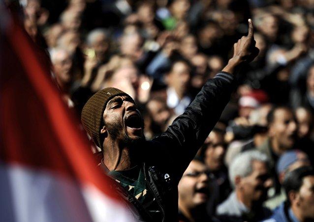 Protestations au Caire, 2011.