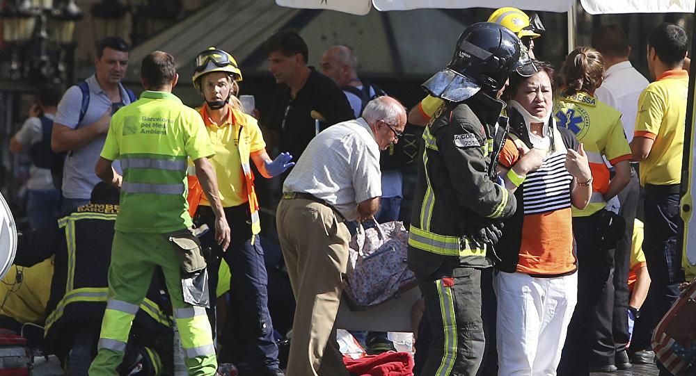 Des gens blessés à Barcelone