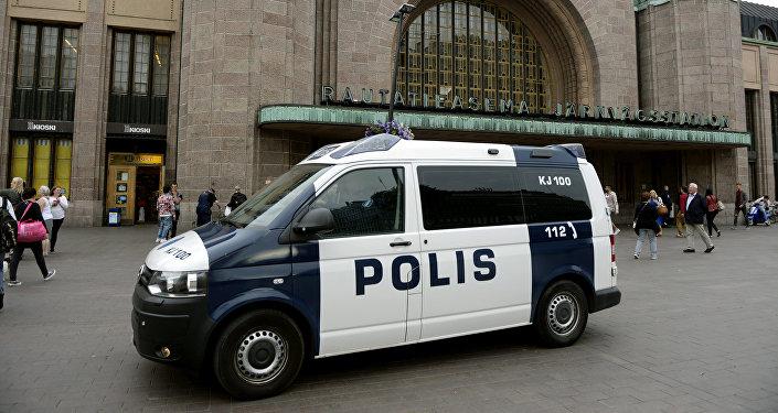 La police en patrouille devant la Gare centrale de Turku après l'attaque au couteau du 18 août 2017