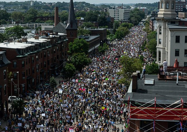 Manifestation contre le racisme à Boston