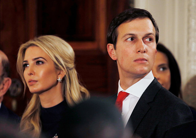 Ivanka Trump and her husband Jared Kushner watch as German Chancellor Angela Merkel and U.S. President Donald Trump hold a joint news conference in the East Room of the White House in Washington