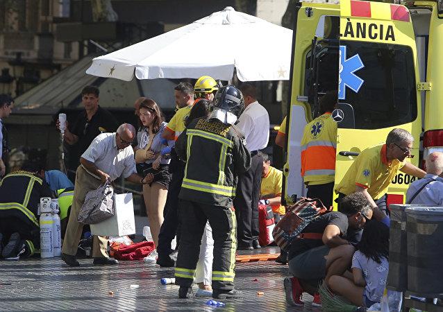 Sur les lieux de l'attentat de Barcelone