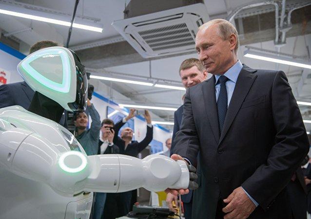 Vladimir Poutine tend la main à un robot