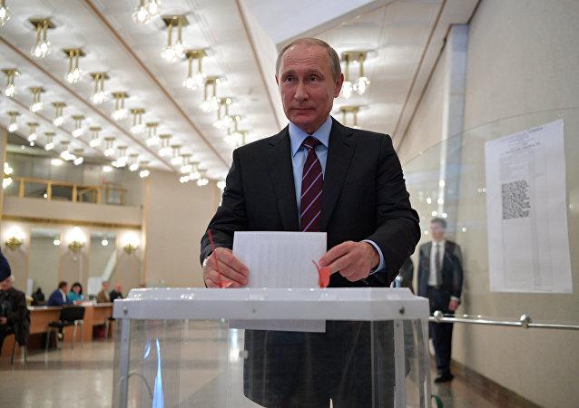 Vladimir Poutine au bureau de vote, Moscou, 10.09.17