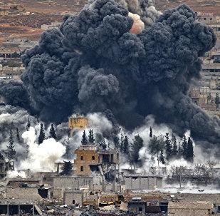 Frappes de la coalition dirigée par les États-Unis sur la ville de Kobané. Archives