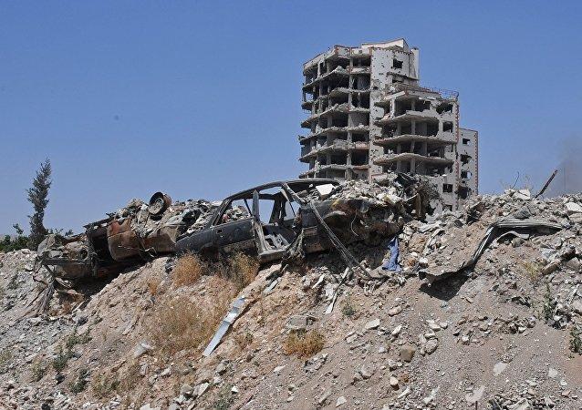 Un quartier de Damas, en Syrie