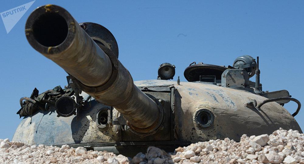 Un T-55 en positon en Syrie
